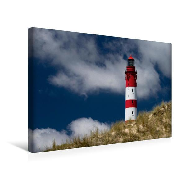 Premium Textil-Leinwand 45 cm x 30 cm quer, Amrumer Leuchtturm | Wandbild, Bild auf Keilrahmen, Fertigbild auf echter Leinwand, Leinwanddruck - Coverbild