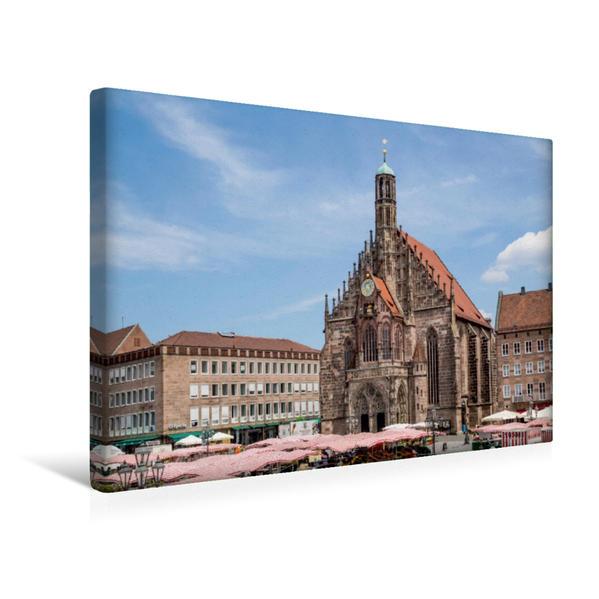 Premium Textil-Leinwand 45 cm x 30 cm quer, NÜRNBERG Frauenkirche und Hauptmarkt | Wandbild, Bild auf Keilrahmen, Fertigbild auf echter Leinwand, Leinwanddruck - Coverbild
