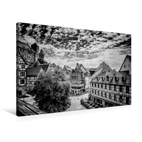 Premium Textil-Leinwand 90 cm x 60 cm quer, NÜRNBERG Blick auf die Altstadt  Monochrom | Wandbild, Bild auf Keilrahmen, Fertigbild auf echter Leinwand, Leinwanddruck - Coverbild