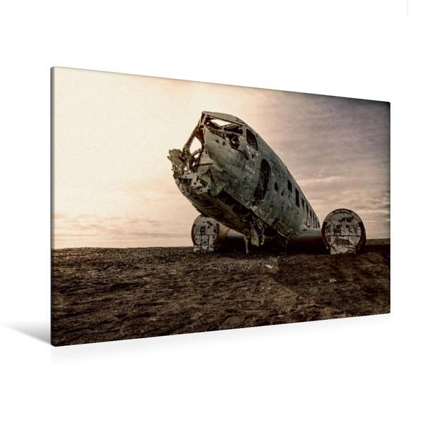 Premium Textil-Leinwand 120 cm x 80 cm quer, Island Flugzeugwrack | Wandbild, Bild auf Keilrahmen, Fertigbild auf echter Leinwand, Leinwanddruck - Coverbild
