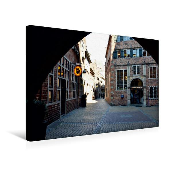 Premium Textil-Leinwand 45 cm x 30 cm quer, Böttcherstraße | Wandbild, Bild auf Keilrahmen, Fertigbild auf echter Leinwand, Leinwanddruck - Coverbild