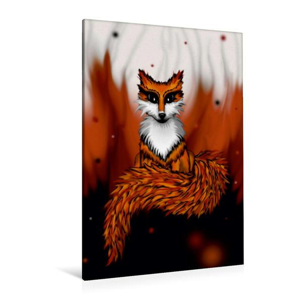 Premium Textil-Leinwand 80 cm x 120 cm  hoch, Feuerfuchs | Wandbild, Bild auf Keilrahmen, Fertigbild auf echter Leinwand, Leinwanddruck - Coverbild