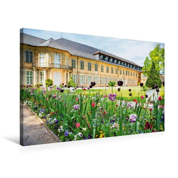Premium Textil-Leinwand 75 cm x 50 cm quer, Blumen vor dem Neuen Schloss Bayreuth | Wandbild, Bild auf Keilrahmen, Fertigbild auf echter Leinwand, Leinwanddruck - Coverbild