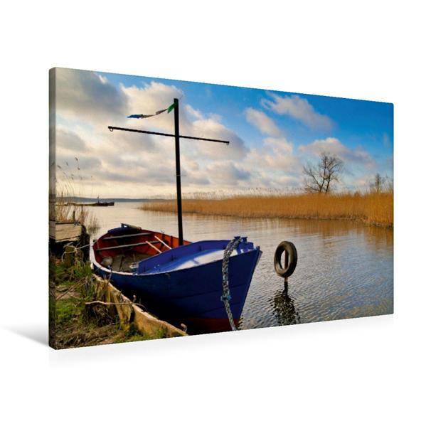 Premium Textil-Leinwand 90 cm x 60 cm quer, Blaues Fischerboot | Wandbild, Bild auf Keilrahmen, Fertigbild auf echter Leinwand, Leinwanddruck - Coverbild