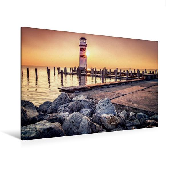 Premium Textil-Leinwand 120 cm x 80 cm quer, Leuchtturm | Wandbild, Bild auf Keilrahmen, Fertigbild auf echter Leinwand, Leinwanddruck - Coverbild