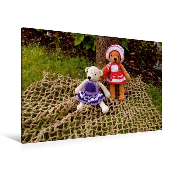 Premium Textil-Leinwand 120 cm x 80 cm quer, Teddydamen Cora und Eva   Wandbild, Bild auf Keilrahmen, Fertigbild auf echter Leinwand, Leinwanddruck - Coverbild