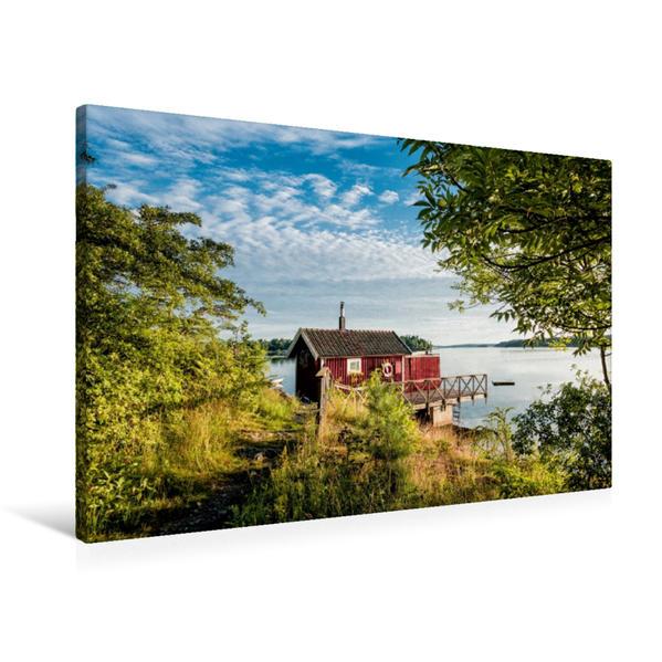 Premium Textil-Leinwand 90 cm x 60 cm quer, Eine Holzhütte an der Küste | Wandbild, Bild auf Keilrahmen, Fertigbild auf echter Leinwand, Leinwanddruck - Coverbild