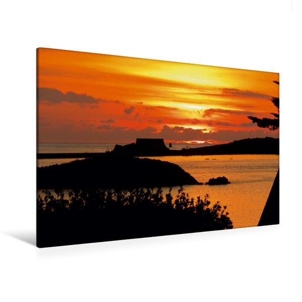 Premium Textil-Leinwand 120 cm x 80 cm quer, Sonnenuntergang - Île de Batz | Wandbild, Bild auf Keilrahmen, Fertigbild auf echter Leinwand, Leinwanddruck - Coverbild