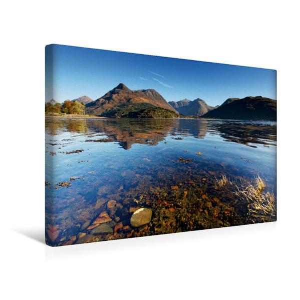 Premium Textil-Leinwand 45 cm x 30 cm quer, Glencoe Village, Loch Leven Schottland   Wandbild, Bild auf Keilrahmen, Fertigbild auf echter Leinwand, Leinwanddruck - Coverbild