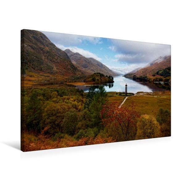 Premium Textil-Leinwand 75 cm x 50 cm quer, Glenfinnan Monument, Schottland | Wandbild, Bild auf Keilrahmen, Fertigbild auf echter Leinwand, Leinwanddruck - Coverbild