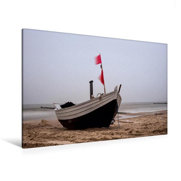 Premium Textil-Leinwand 120 cm x 80 cm quer, Fischerboot am Strand | Wandbild, Bild auf Keilrahmen, Fertigbild auf echter Leinwand, Leinwanddruck - Coverbild