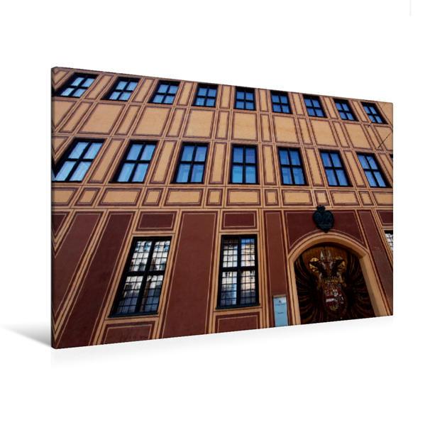 Premium Textil-Leinwand 120 cm x 80 cm quer, Fassade des Fuggerhauses, Augsburg, Deutschland | Wandbild, Bild auf Keilrahmen, Fertigbild auf echter Leinwand, Leinwanddruck - Coverbild