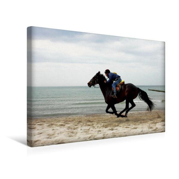 Premium Textil-Leinwand 45 cm x 30 cm quer, Fischländer Strandrennen, Wustrow | Wandbild, Bild auf Keilrahmen, Fertigbild auf echter Leinwand, Leinwanddruck - Coverbild