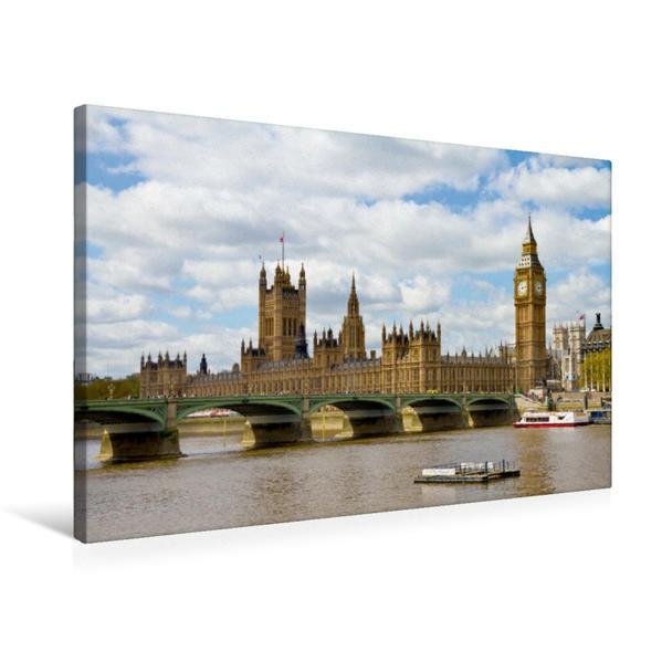 Premium Textil-Leinwand 75 cm x 50 cm quer, Westminster Bridge und Houses of Parliament | Wandbild, Bild auf Keilrahmen, Fertigbild auf echter Leinwand, Leinwanddruck - Coverbild