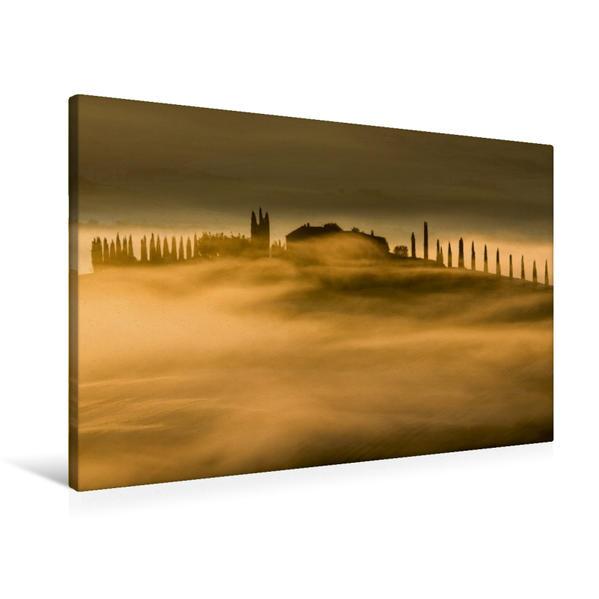 Premium Textil-Leinwand 90 cm x 60 cm quer, Gehöft im Morgennebel   Wandbild, Bild auf Keilrahmen, Fertigbild auf echter Leinwand, Leinwanddruck - Coverbild