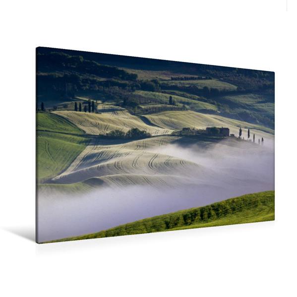 Premium Textil-Leinwand 120 cm x 80 cm quer, Gehöft im Val d'Orcia | Wandbild, Bild auf Keilrahmen, Fertigbild auf echter Leinwand, Leinwanddruck - Coverbild