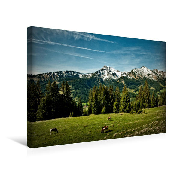 Premium Textil-Leinwand 45 cm x 30 cm quer, Almkühe | Wandbild, Bild auf Keilrahmen, Fertigbild auf echter Leinwand, Leinwanddruck - Coverbild