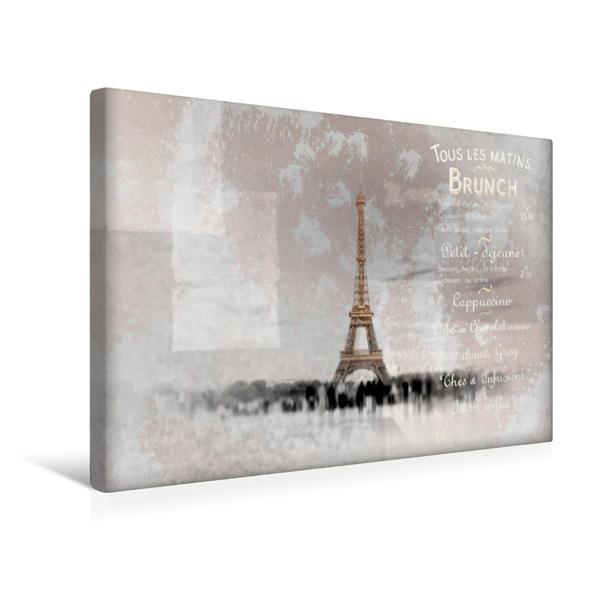 Premium Textil-Leinwand 45 cm x 30 cm quer, PARIS Collage   Wandbild, Bild auf Keilrahmen, Fertigbild auf echter Leinwand, Leinwanddruck - Coverbild