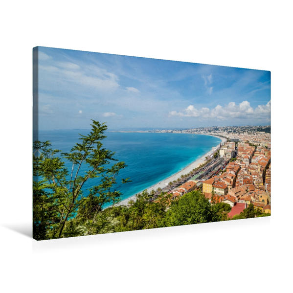 Premium Textil-Leinwand 75 cm x 50 cm quer, NIZZA Promenade des Anglais   Wandbild, Bild auf Keilrahmen, Fertigbild auf echter Leinwand, Leinwanddruck - Coverbild