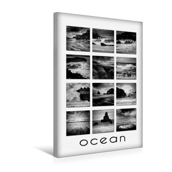Premium Textil-Leinwand 30 cm x 45 cm hoch, Ocean, Fineart Collage | Wandbild, Bild auf Keilrahmen, Fertigbild auf echter Leinwand, Leinwanddruck - Coverbild