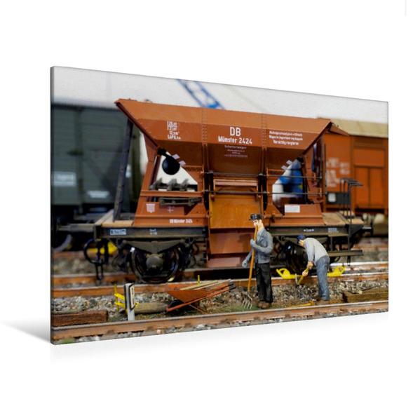 Premium Textil-Leinwand 120 cm x 80 cm quer, Gleisarbeiten | Wandbild, Bild auf Keilrahmen, Fertigbild auf echter Leinwand, Leinwanddruck - Coverbild