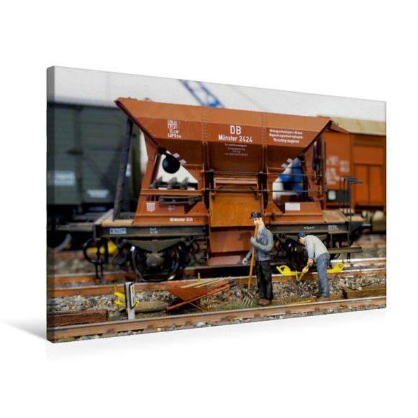 Premium Textil-Leinwand 75 cm x 50 cm quer, Gleisarbeiten   Wandbild, Bild auf Keilrahmen, Fertigbild auf echter Leinwand, Leinwanddruck - Coverbild