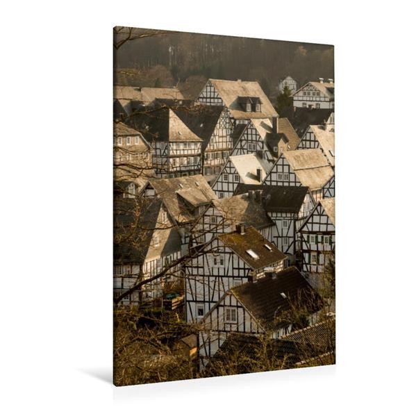 Premium Textil-Leinwand 80 cm x 120 cm  hoch, Historische Altstadt von Freudenberg im Siegerland | Wandbild, Bild auf Keilrahmen, Fertigbild auf echter Leinwand, Leinwanddruck - Coverbild
