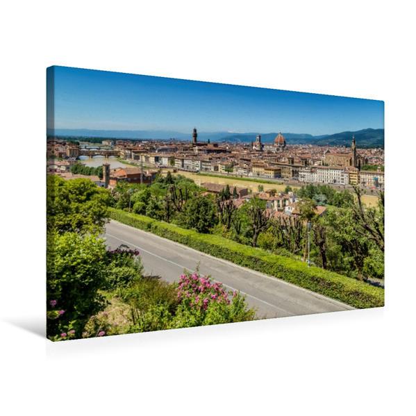 Premium Textil-Leinwand 75 cm x 50 cm quer, FLORENZ Aussicht vom Piazzale Michelangelo   Wandbild, Bild auf Keilrahmen, Fertigbild auf echter Leinwand, Leinwanddruck - Coverbild