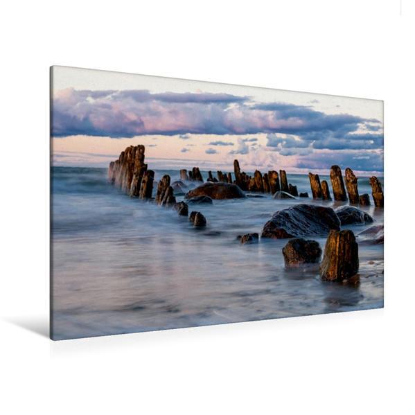 Premium Textil-Leinwand 120 cm x 80 cm quer, Buhnen an der Ostseeküste   Wandbild, Bild auf Keilrahmen, Fertigbild auf echter Leinwand, Leinwanddruck - Coverbild