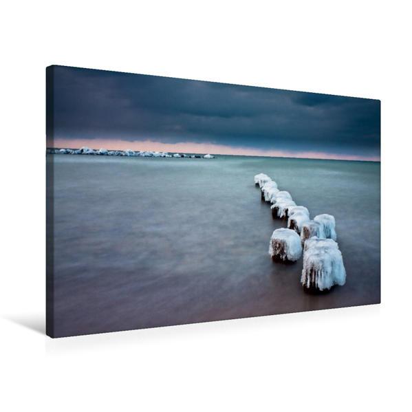 Premium Textil-Leinwand 75 cm x 50 cm quer, Buhnen an der Ostseeküste | Wandbild, Bild auf Keilrahmen, Fertigbild auf echter Leinwand, Leinwanddruck - Coverbild