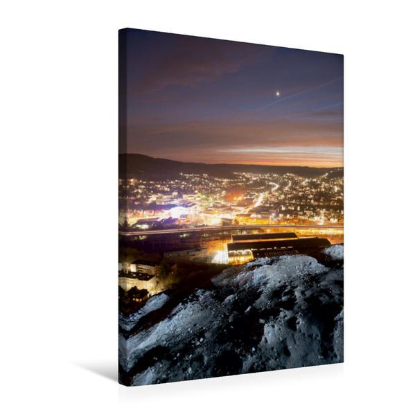 Premium Textil-Leinwand 50 cm x 75 cm hoch, Siegen-Geisweid bei Nacht   Wandbild, Bild auf Keilrahmen, Fertigbild auf echter Leinwand, Leinwanddruck - Coverbild