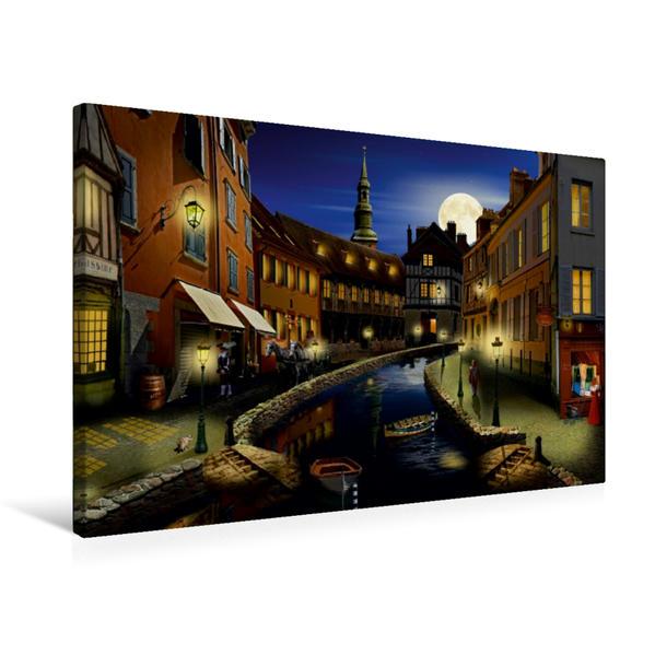 Premium Textil-Leinwand 75 cm x 50 cm quer, Der nostalgische Hafen von Mausopardia   Wandbild, Bild auf Keilrahmen, Fertigbild auf echter Leinwand, Leinwanddruck - Coverbild