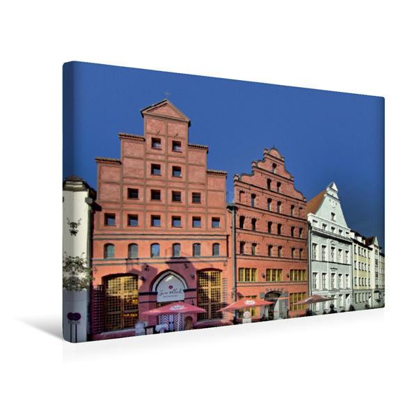 Premium Textil-Leinwand 45 cm x 30 cm quer, Giebelhäuser zwischen Altstadt und Hafen | Wandbild, Bild auf Keilrahmen, Fertigbild auf echter Leinwand, Leinwanddruck - Coverbild