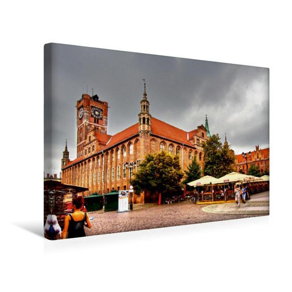 Premium Textil-Leinwand 45 cm x 30 cm quer, Das altstädtische Rathaus, entstand Ende des 14. Jh. im gotischen Still.   Wandbild, Bild auf Keilrahmen, Fertigbild auf echter Leinwand, Leinwanddruck - Coverbild