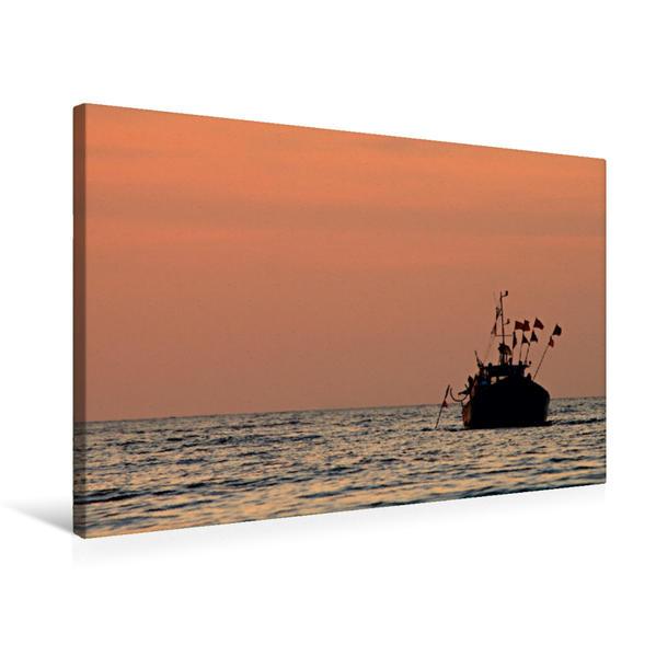 Premium Textil-Leinwand 75 cm x 50 cm quer, Fischerboot im Abendlicht | Wandbild, Bild auf Keilrahmen, Fertigbild auf echter Leinwand, Leinwanddruck - Coverbild