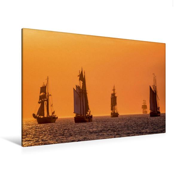 Premium Textil-Leinwand 120 cm x 80 cm quer, Windjammer auf der Ostsee im Abendlicht | Wandbild, Bild auf Keilrahmen, Fertigbild auf echter Leinwand, Leinwanddruck - Coverbild