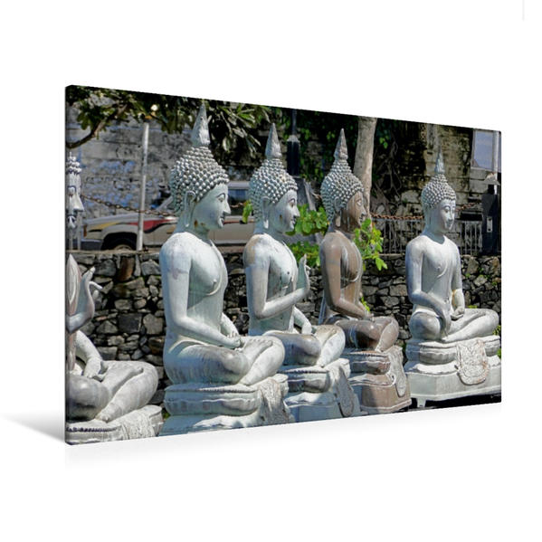 Premium Textil-Leinwand 120 cm x 80 cm quer, Tempel in Colombo | Wandbild, Bild auf Keilrahmen, Fertigbild auf echter Leinwand, Leinwanddruck - Coverbild