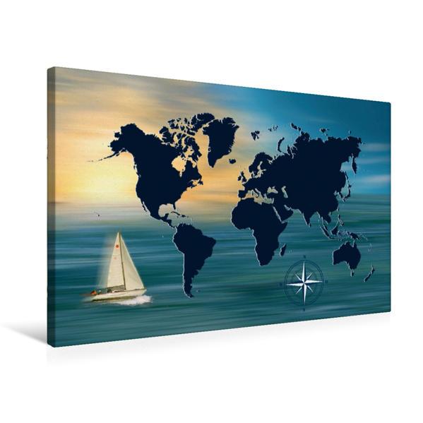 Premium Textil-Leinwand 75 cm x 50 cm quer, Weltumsegelung mit Weltkarte   Wandbild, Bild auf Keilrahmen, Fertigbild auf echter Leinwand, Leinwanddruck - Coverbild