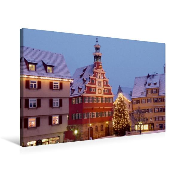 Premium Textil-Leinwand 75 cm x 50 cm quer, Weihnachtliches Altes Rathaus | Wandbild, Bild auf Keilrahmen, Fertigbild auf echter Leinwand, Leinwanddruck - Coverbild