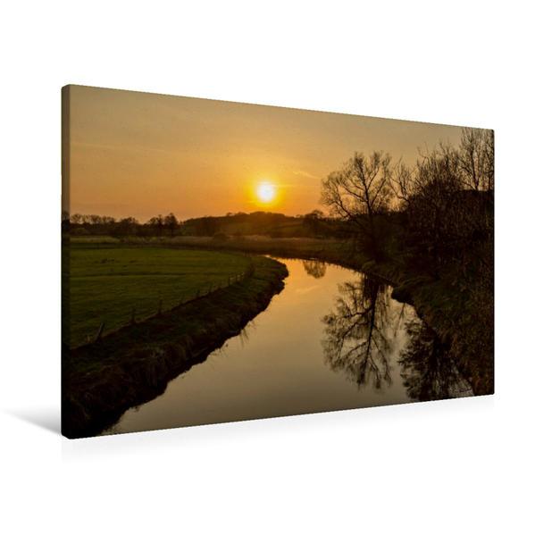 Premium Textil-Leinwand 90 cm x 60 cm quer, Sonnenuntergang an der Trave | Wandbild, Bild auf Keilrahmen, Fertigbild auf echter Leinwand, Leinwanddruck - Coverbild