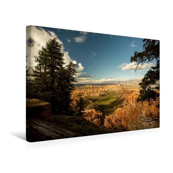 Premium Textil-Leinwand 45 cm x 30 cm quer, Bryce Canyon - Blick in die Ferne | Wandbild, Bild auf Keilrahmen, Fertigbild auf echter Leinwand, Leinwanddruck - Coverbild