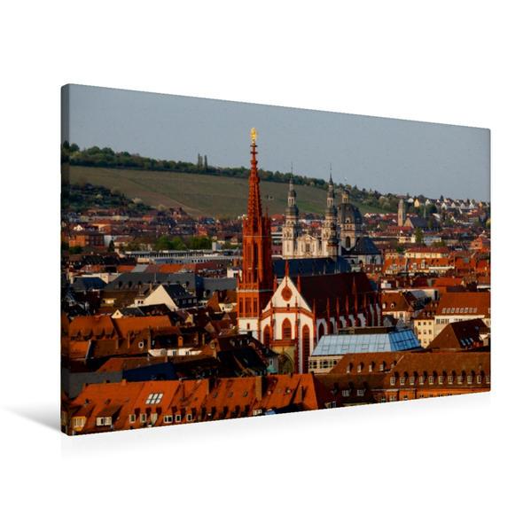 Premium Textil-Leinwand 90 cm x 60 cm quer, Marienkapelle Würzburg | Wandbild, Bild auf Keilrahmen, Fertigbild auf echter Leinwand, Leinwanddruck - Coverbild