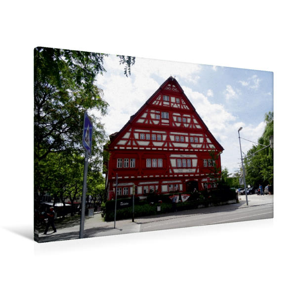 Premium Textil-Leinwand 90 cm x 60 cm quer, Das Alte Haus | Wandbild, Bild auf Keilrahmen, Fertigbild auf echter Leinwand, Leinwanddruck - Coverbild