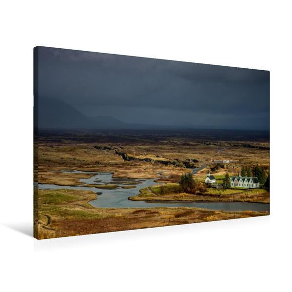 Premium Textil-Leinwand 90 cm x 60 cm quer, Þingvellir   Wandbild, Bild auf Keilrahmen, Fertigbild auf echter Leinwand, Leinwanddruck - Coverbild