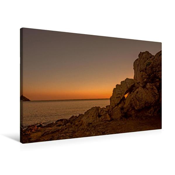 Premium Textil-Leinwand 90 cm x 60 cm quer, Sonnenaufgang Cala Agulla | Wandbild, Bild auf Keilrahmen, Fertigbild auf echter Leinwand, Leinwanddruck - Coverbild