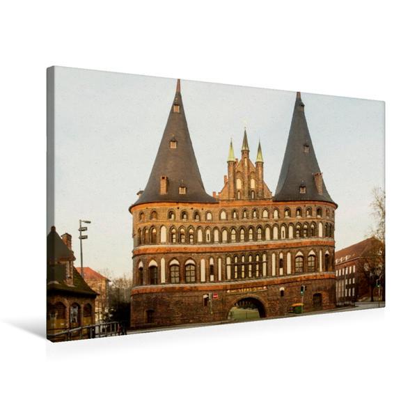 Premium Textil-Leinwand 75 cm x 50 cm quer, Holstentor | Wandbild, Bild auf Keilrahmen, Fertigbild auf echter Leinwand, Leinwanddruck - Coverbild
