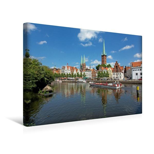 Premium Textil-Leinwand 45 cm x 30 cm quer, Blick über Lübeck / Obertrave | Wandbild, Bild auf Keilrahmen, Fertigbild auf echter Leinwand, Leinwanddruck - Coverbild