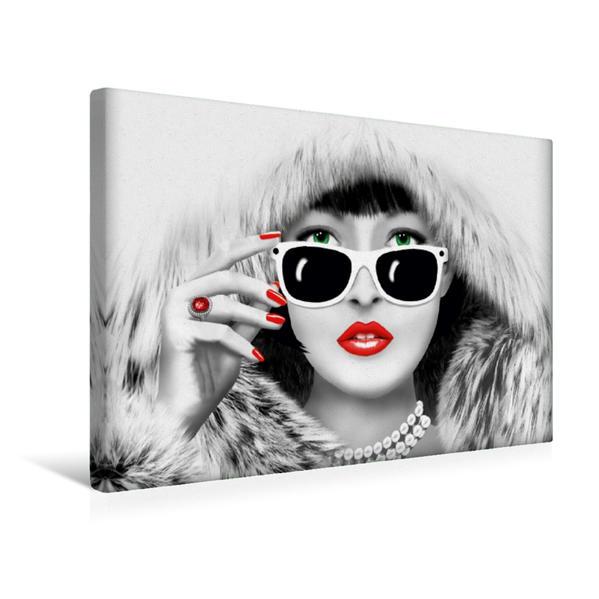 Premium Textil-Leinwand 45 cm x 30 cm quer, Die Winter-Lady   Wandbild, Bild auf Keilrahmen, Fertigbild auf echter Leinwand, Leinwanddruck - Coverbild