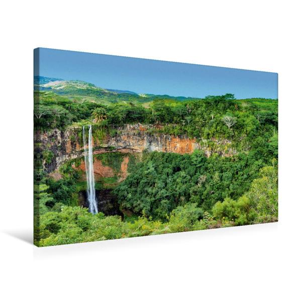 Premium Textil-Leinwand 75 cm x 50 cm quer, Chamarel Wasserfall | Wandbild, Bild auf Keilrahmen, Fertigbild auf echter Leinwand, Leinwanddruck - Coverbild