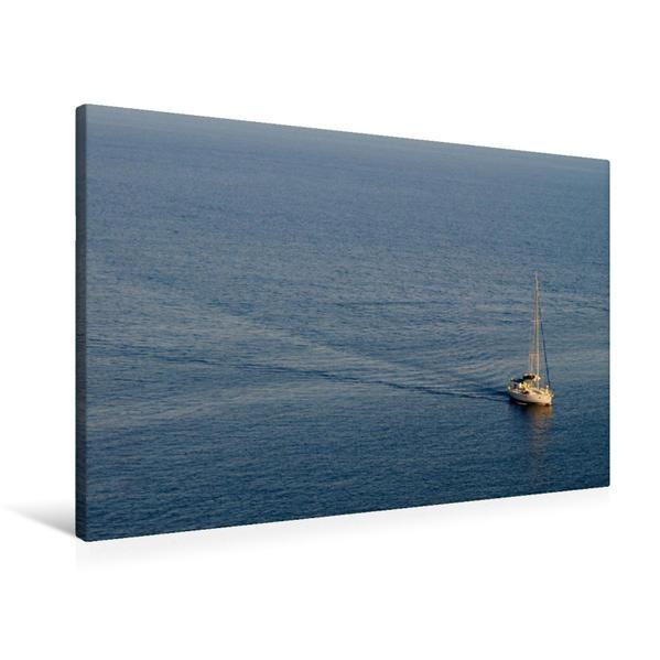 Premium Textil-Leinwand 90 cm x 60 cm quer, Gulet auf Blauer Reise | Wandbild, Bild auf Keilrahmen, Fertigbild auf echter Leinwand, Leinwanddruck - Coverbild